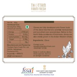 Clove Nutritional label