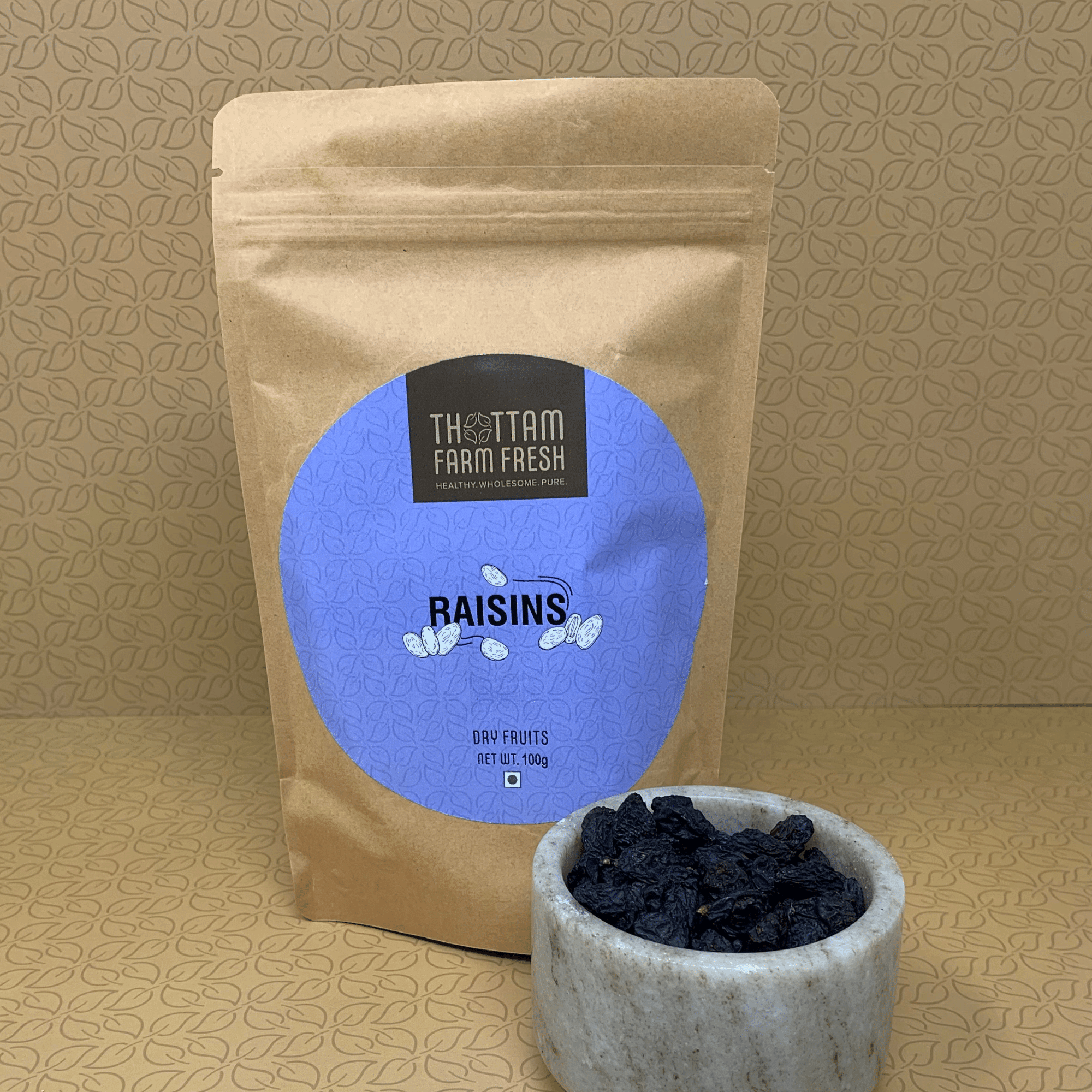 black raisins front